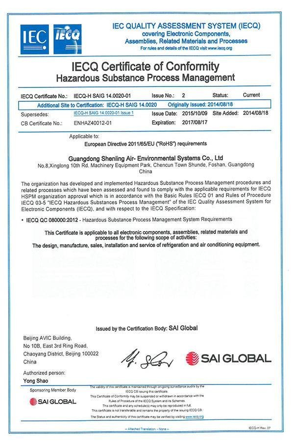 QC080000 2012 IECQ CERTIFICATE OF CONFORMITY HAZARDOUS SUBSTANCE PROCESS MANAGEMENT-HQ
