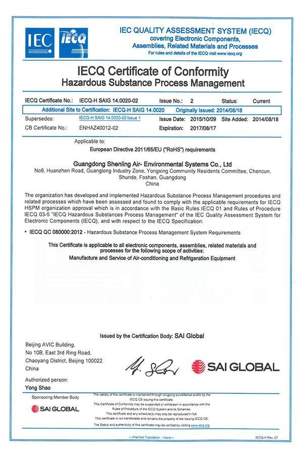 QC080000 2012 IECQ CERTIFICATE OF CONFORMITY HAZARDOUS SUBSTANCE PROCESS MANAGEMENT-PRODUCTION BASE 2