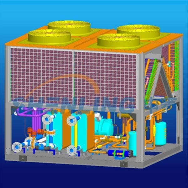 New-style compensation type heat-pump water chiller and heater with  dual sources